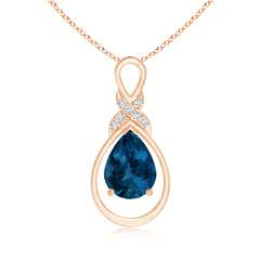 London Blue Topaz Infinity Loop Pendant with 'X' Motif