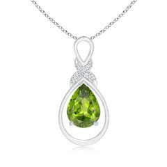 Peridot Infinity Pendant with Diamond 'X' Motif