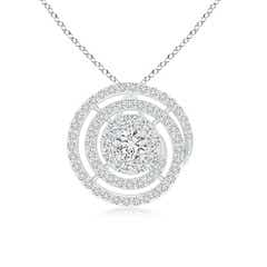 Round Floating Diamond Halo Spiral Circle Pendant