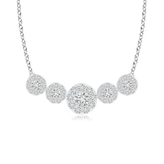 Graduated Five Stone Diamond Halo Necklace