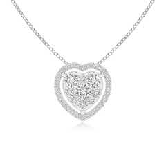 Scattered Cluster Diamond Heart Halo Pendant