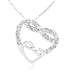 Diamond Twin Heart Infinity Knot Pendant