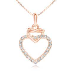 Diamond Interlocking Heart Dangle Pendant