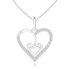 Entwined Diamond Ribbon Heart Pendant