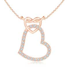 Prong-Set Diamond Interlocking Twin Heart Pendant