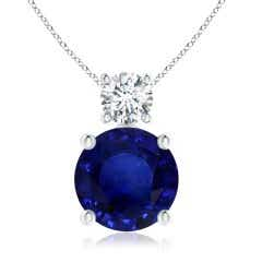 Classic GIA Certified Sapphire Solitaire Pendant with Diamond