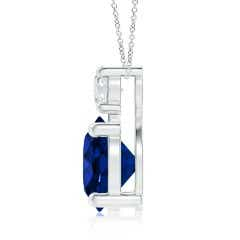 Toggle Classic GIA Certified Sapphire Solitaire Pendant with Diamond