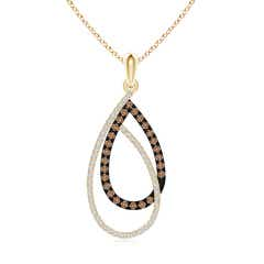 Interlinked Coffee and White Diamond Loop Drop Pendant