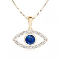 Blue Sapphire Evil Eye Pendant with Diamond Accents