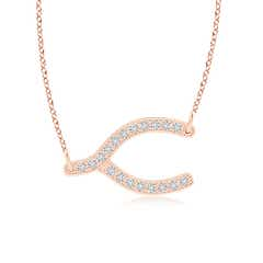 Pave-Set Diamond Sideways Wishbone Necklace