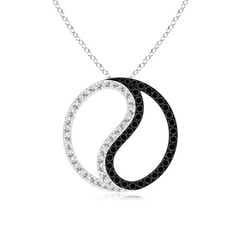 Enhanced Black and White Diamond Yin Yang Pendant