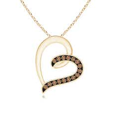 Pave-Set Coffee Diamond Tilted Loop Heart Pendant