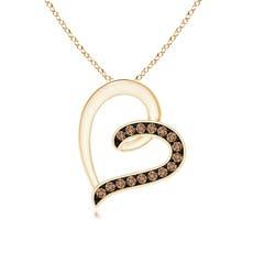 Pave Set Coffee Diamond Tilted Loop Heart Pendant