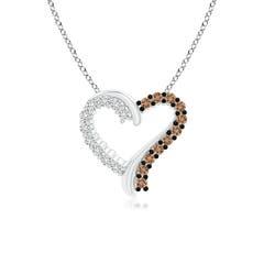 Prong-Set White and Coffee Diamond Heart Pendant