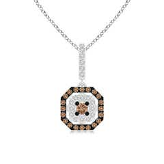 Coffee and White Diamond Octagon Halo Pendant