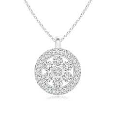 Channel-Set Diamond Flower Pendant with Halo