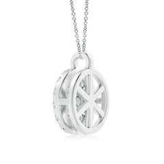 Toggle Channel-Set Diamond Flower Pendant with Halo