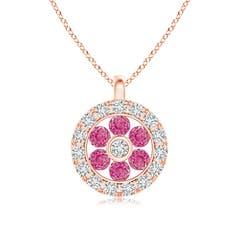 Channel-Set Pink Sapphire Flower Pendant with Diamond Halo
