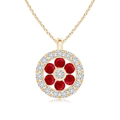 Channel-Set Ruby Flower Pendant with Diamond Halo