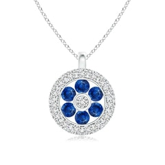 Channel-Set Sapphire Flower Pendant with Diamond Halo