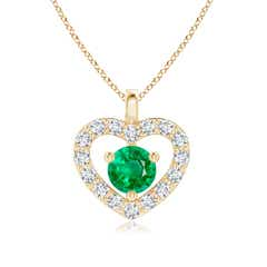 Solitaire Emerald Open Heart Pendant with Diamonds