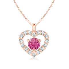 Solitaire Pink Sapphire Open Heart Pendant with Diamonds