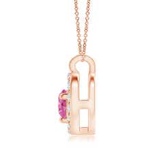 Toggle Solitaire Pink Sapphire Open Heart Pendant with Diamonds