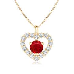 Solitaire Ruby Open Heart Pendant with Diamonds