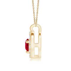 Toggle Solitaire Ruby Open Heart Pendant with Diamonds