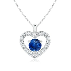 Solitaire Sapphire Open Heart Pendant with Diamonds