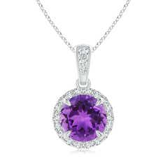 Claw-Set Round Amethyst Pendant with Diamond Halo