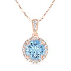 Claw Set Aquamarine and Diamond Halo Dangle Pendant
