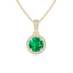 Claw Set Emerald and Diamond Halo Dangle Pendant