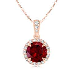 Claw Set Garnet and Diamond Halo Dangle Pendant