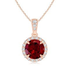 Claw-Set Round Garnet Pendant with Diamond Halo