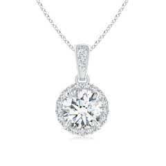 Claw Set Moissanite Halo Dangle Pendant
