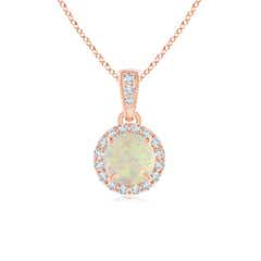 Claw Set Opal and Diamond Halo Dangle Pendant