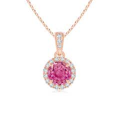 Claw Set Pink Sapphire and Diamond Halo Dangle Pendant