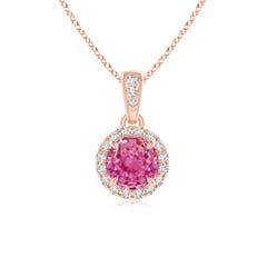 Claw-Set Round Pink Sapphire Pendant with Diamond Halo