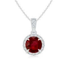 Ruby and Diamond Halo Dangle Pendant (GIA Certified Ruby)