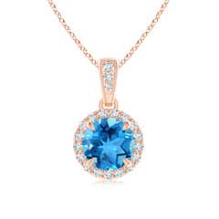 Claw-Set Round Swiss Blue Topaz Pendant with Diamond Halo