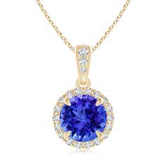 Claw-Set Round Tanzanite Pendant with Diamond Halo