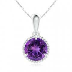 Rope-Framed Claw-Set Amethyst Solitaire Pendant