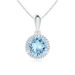 Rope-Framed Claw-Set Aquamarine Solitaire Pendant