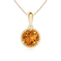 Rope Framed Claw-Set Citrine Solitaire Dangle Pendant