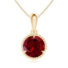 Rope-Framed Claw-Set Garnet Solitaire Pendant