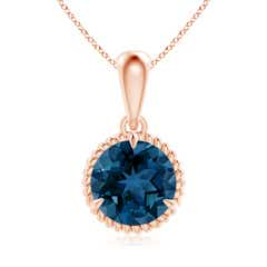 Rope Framed Claw Set London Blue Topaz Solitaire Pendant