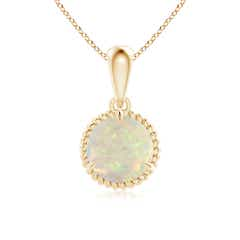 Rope-Framed Claw-Set Opal Solitaire Pendant