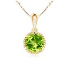 Rope-Framed Claw-Set Peridot Solitaire Pendant