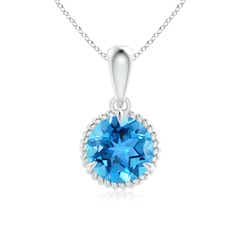 Rope-Framed Claw-Set Swiss Blue Topaz Solitaire Pendant